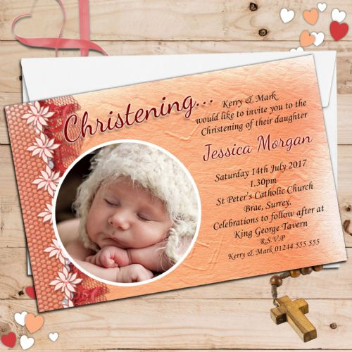 10 Personalised Christening Baptism Photo Invitations N40